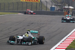 Nico Rosberg, Mercedes AMG F1 leads team mate Michael Schumacher, Mercedes AMG F1