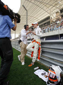 Speed TV's Will Buxton with Nico Hulkenberg, Sahara Force India Formula One Team