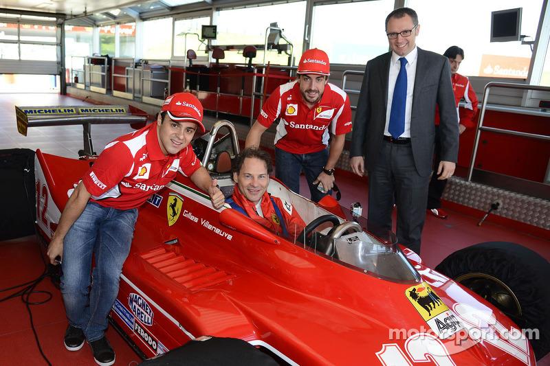 Felipe Massa, Jacques Villeneuve, Fernando Alonso en Stefano Domenicali met de 312 T4