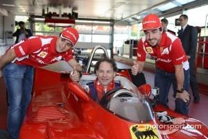 Felipe Massa, Jacques Villeneuve and Fernando Alonso with the 312 T4