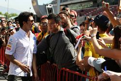 Sergio Perez, Sauber F1 Team with fans