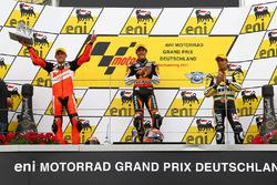 Podium: winnaar Marc Marquez, tweede Stefan Bradl, derde Alex de Angelis