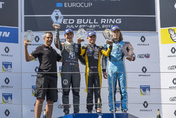 Podium: race winner Max Fewtrell, Tech 1 Racing, second place Sacha Fenestraz, Josef Kaufmann Racing, third place Max Defourny, R-ace GP