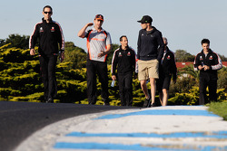 Jamie Whincup and Craig Lowndes walk the track