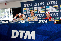 Press conference from left: Bruno Spengler, BMW Team Schnitzer BMW M3 DTM, Gary Paffett, Team HWA AMG Mercedes, AMG Mercedes C-Coupe, Mike Rockenfeller, Phoenix Racing Audi A5 DTM