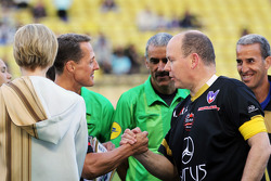 Michael Schumacher, Mercedes AMG F1 with HSH Prince Albert of Monaco, at the charity football match 22