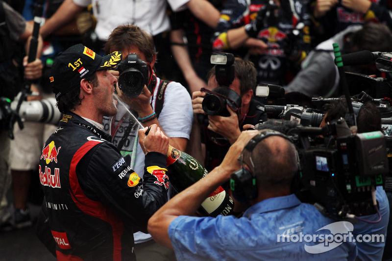 Race winner Mark Webber, Red Bull Racing celebrates in parc ferme