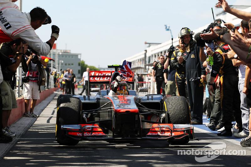 Race winner Lewis Hamilton, McLaren Mercedes celebrates in parc ferme