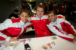 Autograph session: Loic Duval, Romain Dumas and Marc Gene