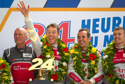 LMP1 podium: class and overall winners Marcel Fässler, Andre Lotterer, Benoit Tréluyer with Dr. Wolfgang Ullrich
