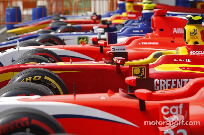 GP2 cars in parc ferme