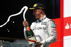 Michael Schumacher, Mercedes AMG F1 celebrates his third position on the podium