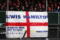 A flag for Lewis Hamilton, McLaren