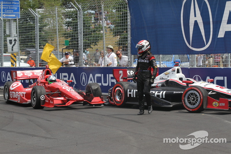 Ryan Briscoe, Team Penske Chevrolet en Dario Franchitti, Target Chip Ganassi Racing Honda