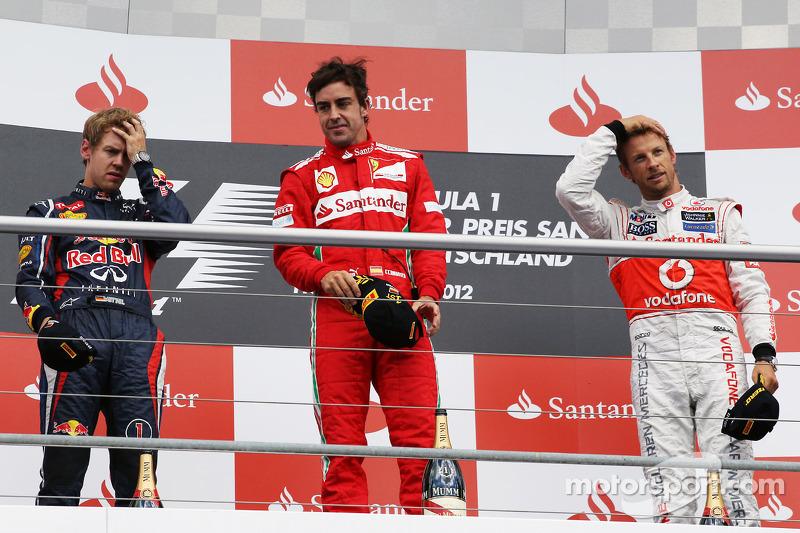 2012: 1. Fernando Alonso, 2. Jenson Button, 3. Kimi Räikkönen (Sebastian Vettel Zeitstrafe)