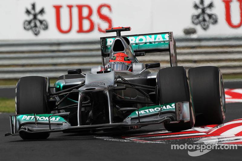 Михаэль Шумахер на тренировке Гран При Венгрии в 2012 году