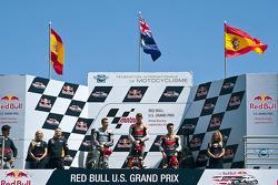 Podium: race winner Casey Stoner, Repsol Honda Team, second place Jorge Lorenzo, Yamaha Factory Racing, third place Dani Pedrosa, Repsol Honda Team