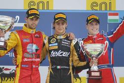 Podium: race winner Esteban Gutierrez, second place Nathanael Berthon, third place Luiz Razia