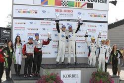 GT podium: winners Tom Milner, Oliver Gavin, second place Patrick Long, Jörg Bergmeister, third place Jorg Müller, Bill Auberlen