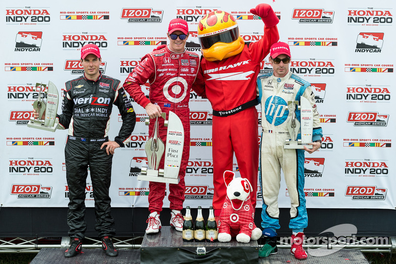 Race winner Scott Dixon, second place Will Power and third place Simon Pagenaud