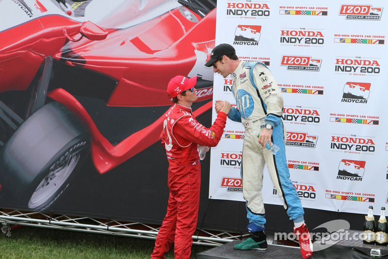 Scott Dixon congratulates Simon Pagenaud on his third place finish