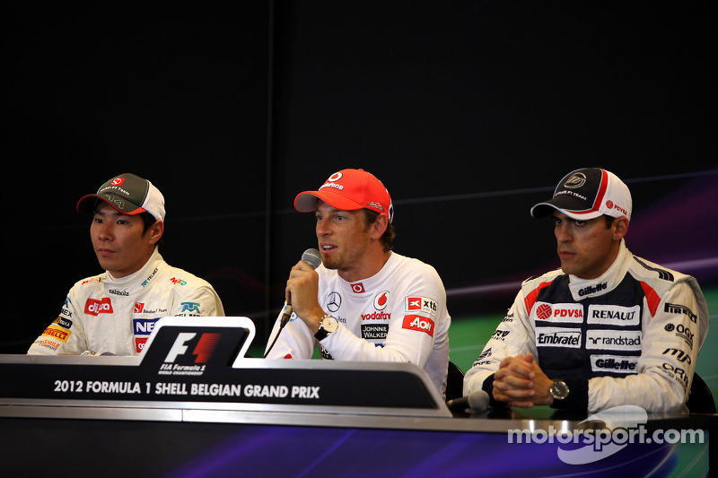 Eerste drie Kamui Kobayashi, Sauber F1 Team, Jenson Button, McLaren Mercedes en Pastor Maldonado, Wi