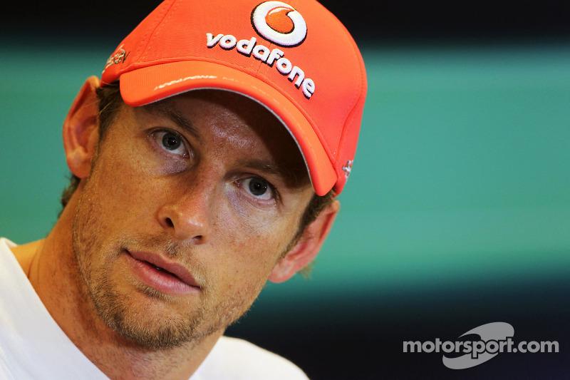 Pole sitter Jenson Button, McLaren in the FIA Press Conference