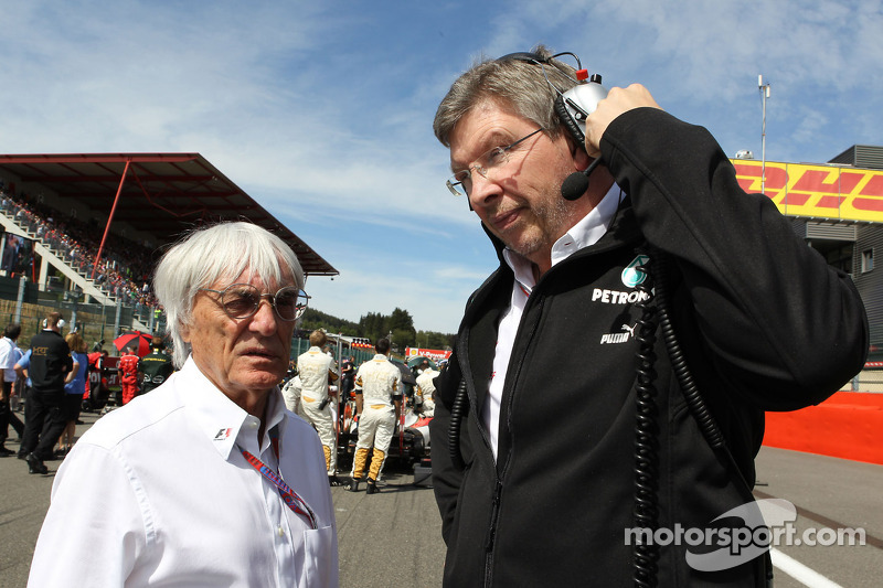 Bernie Ecclestone, and Ross Brawn, Mercedes GP, Technical Director