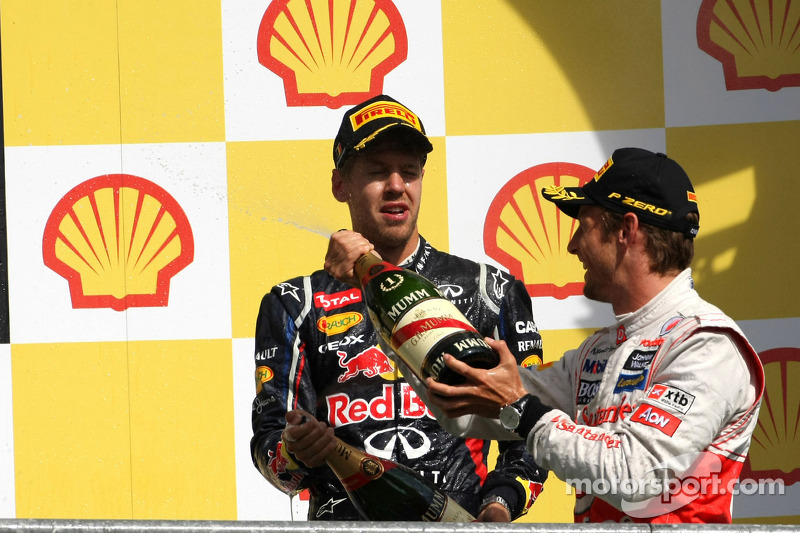 Sebastian Vettel, Red Bull Racing and Jenson Button, McLaren Mercedes