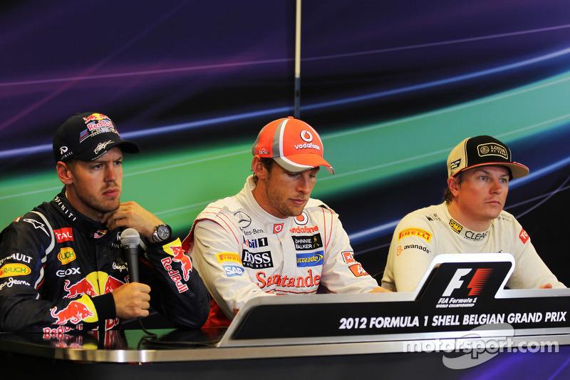 Post race FIA Press Conference, Red Bull Racing, second; Jenson Button, McLaren, race winner; Kimi Raikkonen, Lotus F1 Team, third