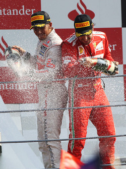 Podium: race winner Lewis Hamilton, McLaren, third place Fernando Alonso, Ferrari