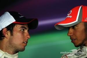 On photo from few weeks ago, Sergio Perez and Lewis Hamilton.