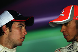 Press conference: second place Sergio Perez, Sauber and race winner Lewis Hamilton, McLaren