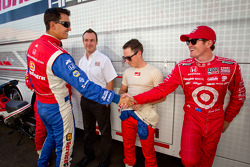 Graham Rahal, Service Central Chip Ganassi Racing Honda, Wade Cunningham, A.J. Foyt Racing Honda and Scott Dixon, Target Chip Ganassi Racing Honda