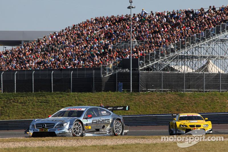 Jamie Green, Team HWA AMG Mercedes, AMG Mercedes C-Coupe voor Dirk Werner, BMW Team Schnitzer BMW M3 DTM