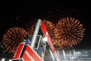 Fireworks at the race finish