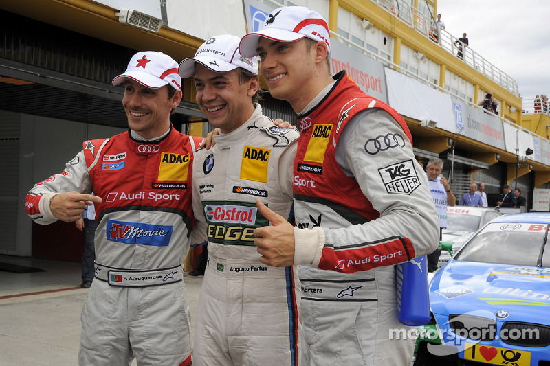 Filipe Albuquerque, Audi Sport Team Rosberg Audi A5 DTM; Augusto Farfus Jr., BMW Team RBM BMW M3 DTM; Edoardo Mortara, Audi Sport Team Rosberg Audi A5 DTM
