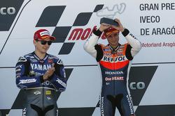Podium: race winner Dani Pedrosa, Repsol Honda Team, second place Jorge Lorenzo, Yamaha Factory Racing