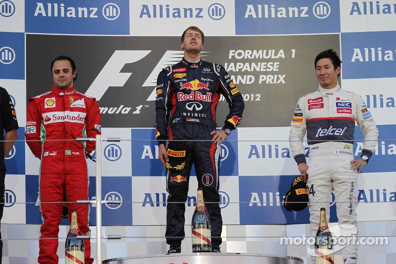 2012: 1. Sebastian Vettel, 2. Felipe Massa, 3. Kamui Kobayashi