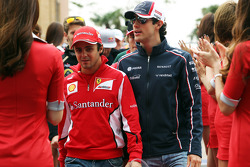 Felipe Massa, Ferrari and Bruno Senna, Williams on the drivers parade