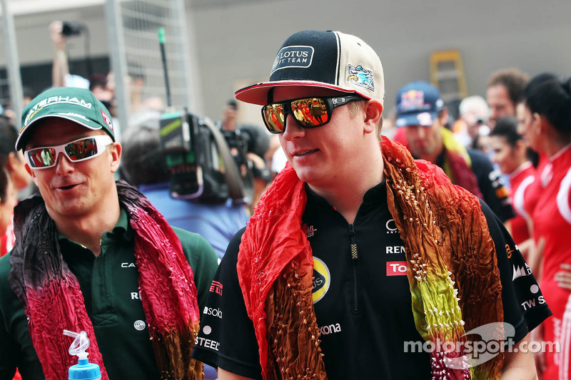Heikki Kovalainen, Caterham en Kimi Raikkonen, Lotus F1 Team rijdersparade