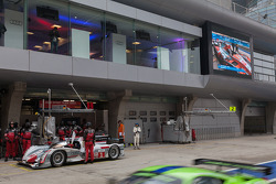 Audi suite over the two Audi pit stalls
