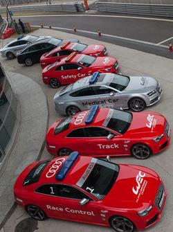 Fleet of Audi support vehicles