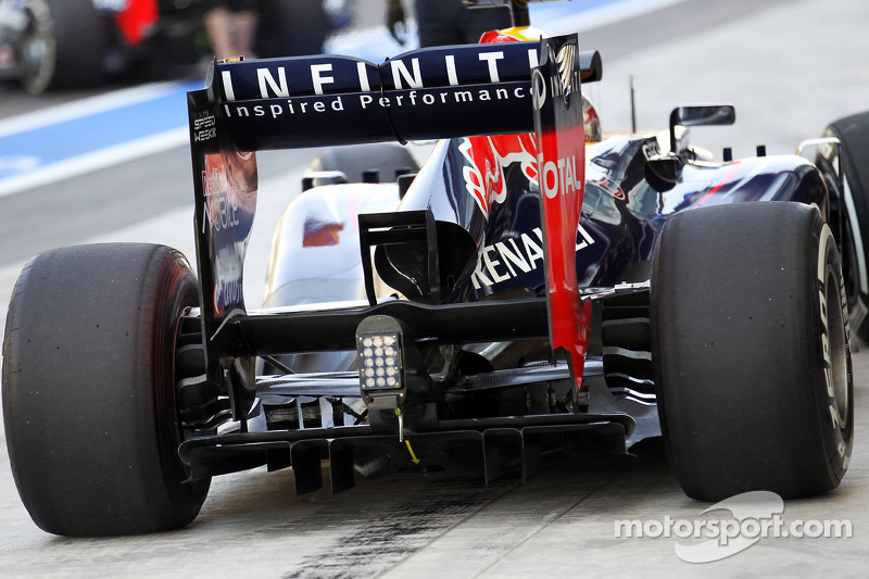 Sebastian Vettel, Red Bull Racing rear wing and rear diffuser detail