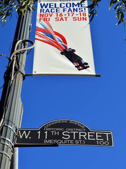 F1 race banner on 11th Street in Austin