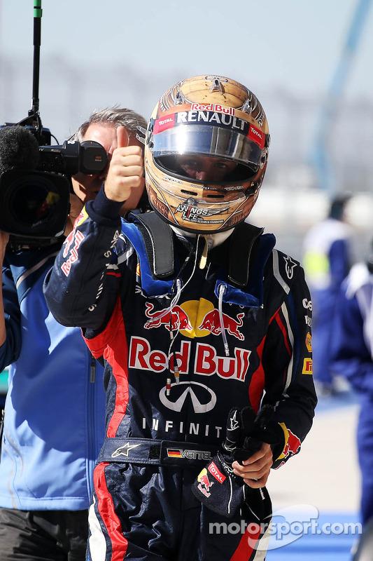 Sebastian Vettel, Red Bull Racing viert polepositie in parc ferme