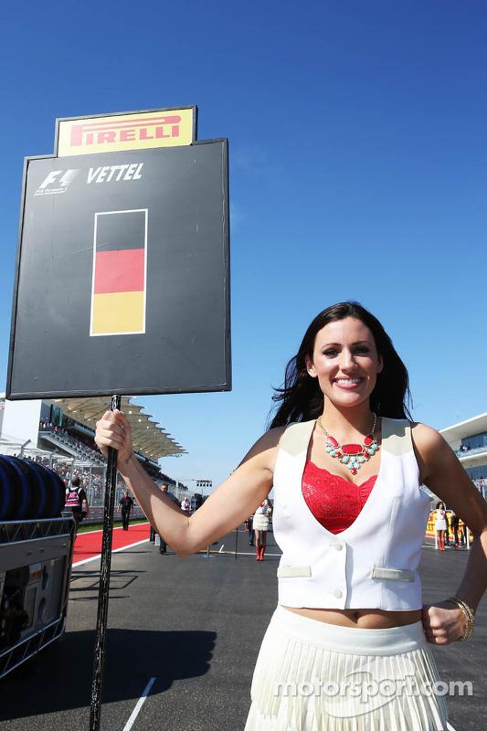 Grid girl for Sebastian Vettel, Red Bull Racing