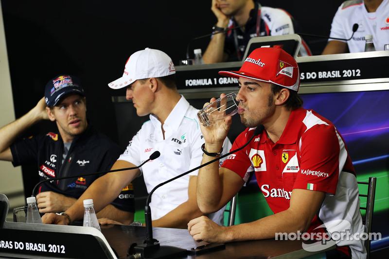Sebastian Vettel, Red Bull Racing ve Michael Schumacher, Mercedes AMG F1 ve Fernando Alonso, Ferrari