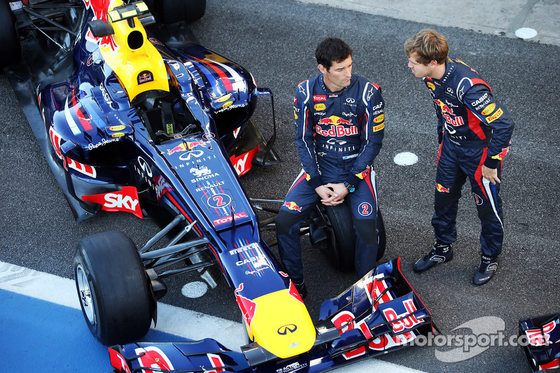 Mark Webber, Red Bull Racing RB8 and team mate Sebastian Vettel, Red Bull Racing at a team photograph