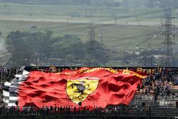 Large Ferrari banner in the grandstand